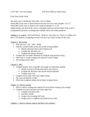 ACCT 302 MW230 Final Exam Study Guide