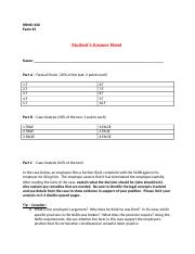 OER HRMD 620 Week 3 Exam 1 Student Answer Sheet