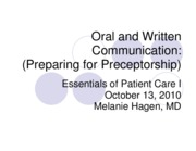 Oral and Written Communications (PDF)