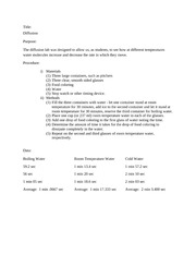 osmosis and diffusion lab report