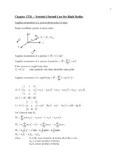 Chapter 17 - Newtons 2nd Law for a Rigid Body