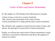 Lecture notes-6 Center of Mass and Linear Momentum