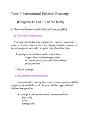 International Political Economy Notes