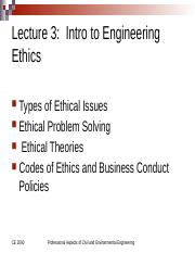 Lecture 3D, Ethical Foundations & Codes of Ethics MOD
