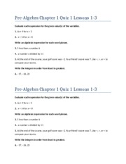 Pre-Algebra Chapter 1 Quiz 1 Lessons 1-3