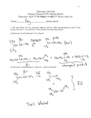 Exam 3 Spring 2012 Solution on Organic Chemistry 1