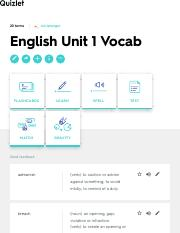 English Unit 1 Vocab Flashcards | Quizlet