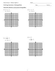 Worksheets Solving Systems Of Inequalities By Graphing Worksheet systems of inequalities kuta software infinite algebra 1 name equations by graphing 4 pages inequalities