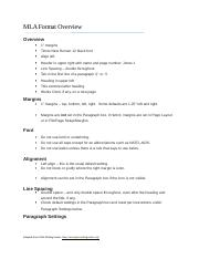 MLA Format Overview Handout