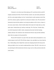 reflection paper on radio announcing