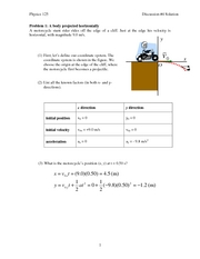 2-D and projectile motion Answers