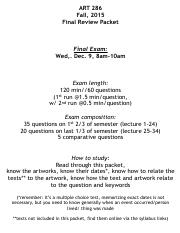 ART 286 Final Review Packet