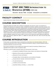 Syllabus - STAT 200 7969 Introduction to Statistics (2168)