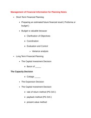 Management of Financial Information for Planning Notes