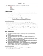 Lecture 8 - Water & War (EXTRA NOTES)