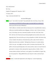GMOs Annotated Bibliography
