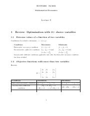 09-Optimisation with Equality Constraints