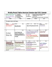 2011_Spring_April_Calendar_Learning_Objectives_Period_5_Native_American_Literature.doc