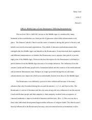 dbq 4 middle ages or early renaissance differing interpretations answers