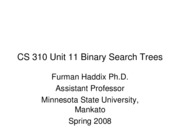 CS 310 Unit 11 Binary Search Trees