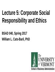 SP17040 Lecture 6 on CSR and Ethics