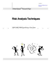 Risk Analysis Techniques - 1998 GARP FRM Exam Review Class Notes