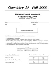 Chemistry 1A - Fall 2000 - Pines - Midterm 1 Version B