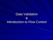 Lecture 18 - Data Validation
