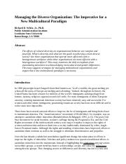 Sociology Managing the Diverse Organization.doc