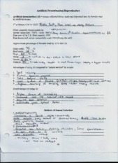 Atrificial Insemination and Reproduction worksheet