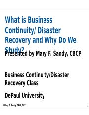 What is Business Continuity-Disaster Recovery and Why Do We Study