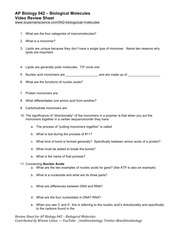 AP Bio Biological Molecules Worksheet-Brandon.docx - AP ...
