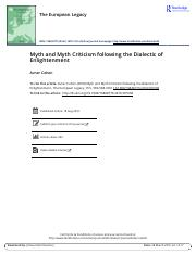 Lecture 3 - Myth and Myth Criticism following the Dialectic of Enlightenment.pdf