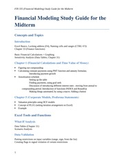 FIN 335 (Finance Modeling ) Study Guide for the Midterm (2014-2015 Spring)