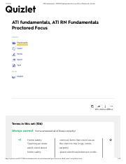 ATI fundamentals, ATI RN doyin Fundamentals Proctored Focus