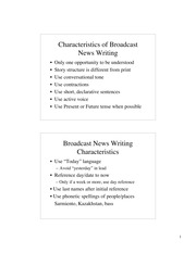 Characteristics of Broadcast News Writing - Notes