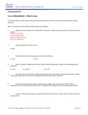 1.1.1.4 Worksheet - Ohm's Law