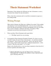 Thesis Statement Worksheet-3.06 - Instructions: thewritingprompt ...