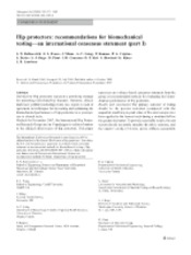 Robinovitch 2009 Hip Protectos Recommendations for Biomechanical Testing