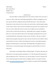 Updated volunteer essay