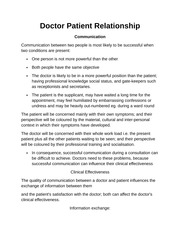 Doctor Patient Relationship Notes