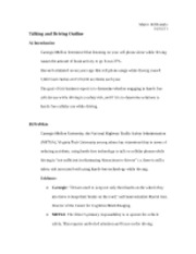 Talking and Driving Outline
