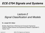 Signal Classification and Models