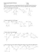 Trigonometry Worksheet Tan Ratio Trigonometry Worksheet Tan Ratio 1 Label The Sides Of These Triangles With O A And H C A B E F H G 2 Find The Length Course Hero
