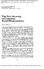 The New Meaning of Corporate Social Responsibility - Peter Drucker