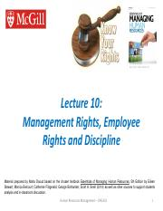 Ch 9 - Management, Employee Rights, Discipline