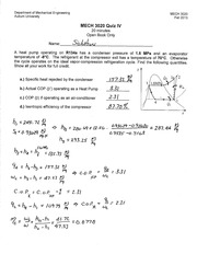 MECH 3020 Fall 2013 Quiz 4 Solution