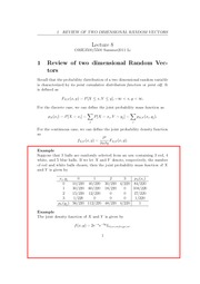 Lecture 8 - Review of Two Dimensional Random Vectors