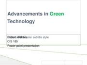 Advancements in Green Technology