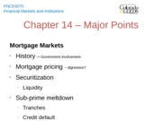 Chapter 14 - Major Points